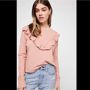 NWT Free People Ooh La Ruffle Pullover pink
